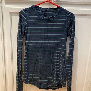 Lululemon Green Bean Inkwell Slalom Stripe Shirt